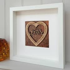 8th wedding anniversary bronze 8th wedding anniversary oak heart by foundry