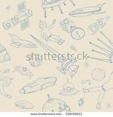 hand drawn astronomy seamless pattern background stock vector