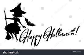 halloween vector art silhouette witch flying on broom holiday stock vector 453312652