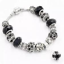 black pandora charm bracelet images Silver snake charm bracelet european murano glass crystal beads 20cm f png