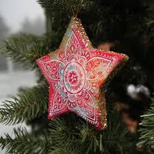 glitter star handmade ornament lightweight paper mache star