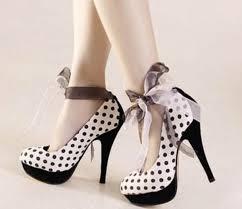 ribbon heels shoes polka dots high heels heels ribbon ribbons wheretoget