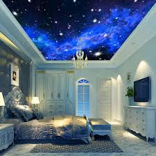 3d wallpaper mural night clouds star sky wall paper background