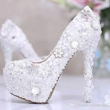 wedding white shoes new prom shoes metal flowers beaded platform femme
