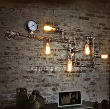Industrial Wall Sconce Lighting Vintage Wrought Iron 5 Light Water Pipe Shaped Industrial Wall Sconces