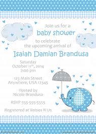 umbrellaphants blue custom baby shower invitation 15 baby