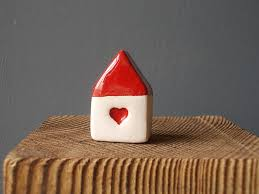 small house with heart small ceramic house with red roof