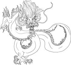 drawn chinese dragon medieval pencil and in color drawn chinese