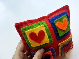 colorful felt applique pillow craftbits