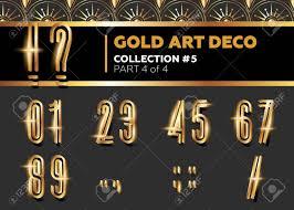 vector art deco 3d font shining gold retro alphabet gatsby