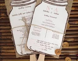 jar wedding programs rustic papers