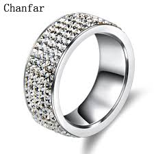 steel rings images Chanfar 5 rows crystal stainless steel ring women for elegant full jpg