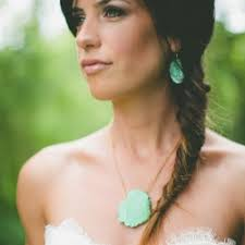 turquoise bridal earrings turquoise earrings fishtail braid weddinggawker