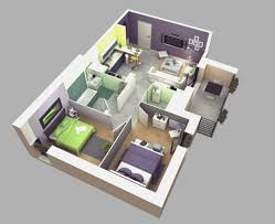 1 Bedroom House Plans Home Design 1 Bedroom House Plans 3 And 3d On Pinterest Within