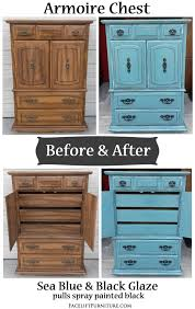 Armoire Chest Of Drawers Sea Blue Armoire Chest With Black Glaze Before U0026 After