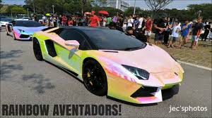 rainbow lamborghini two rainbow chrome lamborghini aventadors loudly departing a meet