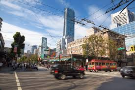 robson street shopping in downtown vancouver bc