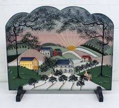 Hand Painted Fireplace Screens - vintage hand made victorian village fireplace cover wall art