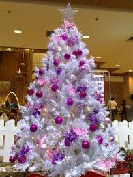 Decorated White Christmas Trees Images by White Christmas Tree With Purple Ornaments Christmas Galore