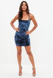blue bodycon dress blue cross velvet bodycon dress missguided