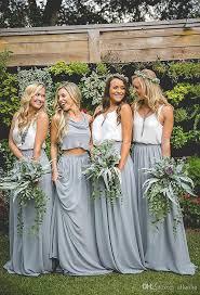 Wedding Dresses Discount 2018 Two Pieces Chiffon Cheap Bridesmaid Dresses V Neck A Line
