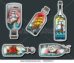 ship in a free bottle with stopper vector free vector stock