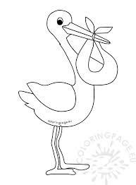 cartoon baby stork template coloring