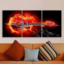 online shop qkart 3 pieces wall art picture firing electric guitar