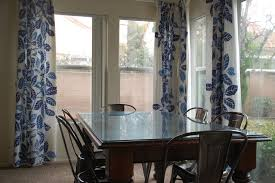 Dining Room Curtain Ideas Decorations Floral Blue Patterned Dining Room Curtain Color
