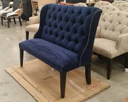 Navy Upholstered Dining Chair Upholstered Settee Navy Blue Microfiber Velvet Like Linen