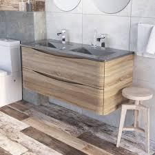 erin wall mounted 1200 double vanity unit light oak u0026 grey glass basin