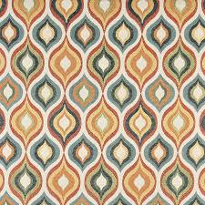 Tapestry Upholstery Fabric Discount Aqua Red Gold Beige And Coral Teardrop Pattern Contemporary
