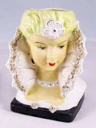 Large Head Planters Vintage Large Head Vase Lady With Black Hair Pearl Necklace And
