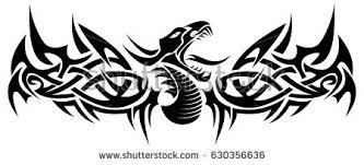 black tribal dragon tattoo vector illustration stock vector