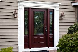 cherry finished mahogany wood front door with decorative glazing