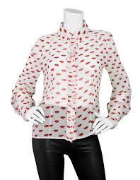 ivory silk blouse prada sheer ivory printed silk blouse sz it46 for sale at 1stdibs