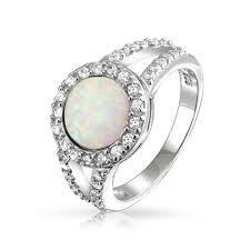 opal engagement rings cz double shank 6mm gemstone round white opal ring 925 silver