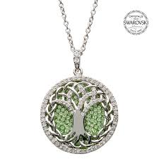 white crystal necklace images Tree of life necklace encrusted with peridot and white swarovski jpg