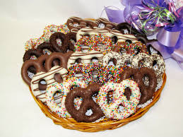 chocolate pretzels baskets platters