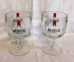 pair of vintage heavy stemmed thumbprint glass michelob beer