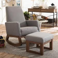 baxton studio yashiya mid century gray fabric upholstered rocking