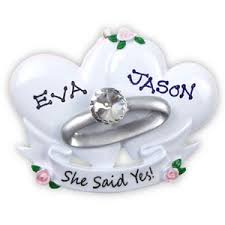wedding ornament she said yes engagement 235 or494