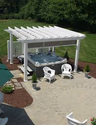 low maintenance vinyl pergola kit with retractable shadetree canopy