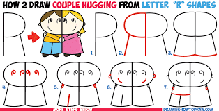 how to draw cartoon couple and boy hugging from letter