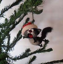 singing cat needle felted ornaments tree