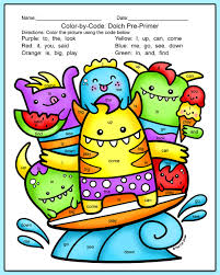 color by sight words summer monsters end of year activity