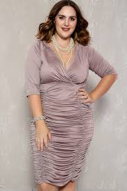 mauve ruched plunging neckline plus size party dress
