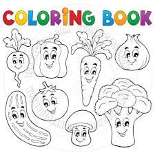 cartoon coloring book vegetable theme clairev toon vectors