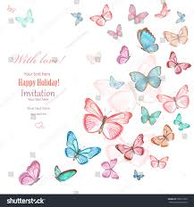 Invitation Card With Photo Invitation Card Lovely Flying Butterflies On Stock Illustration