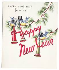 happy new year post card vintage bluebirds with horns and top hats happy new year greeting